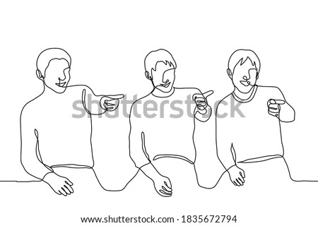 three men are sitting and