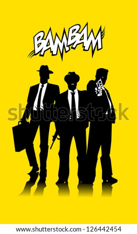Three men in black suits with a weapon (vector);