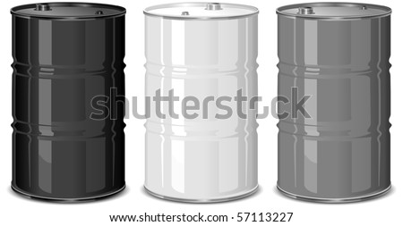 Three metal barrels on white background, vector illustration