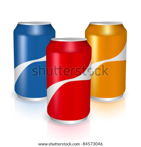 three metal cans vector