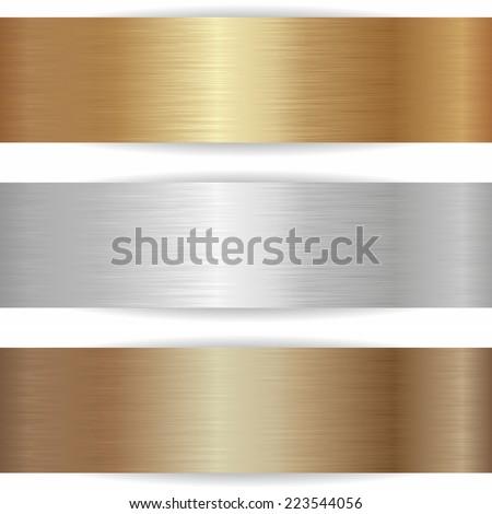 three metallic banners on white