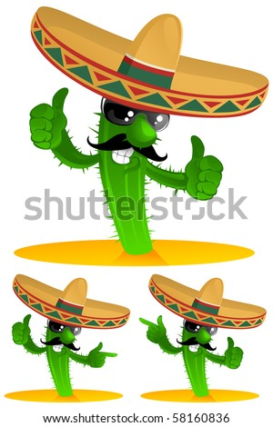three mexican cactus - stock vector