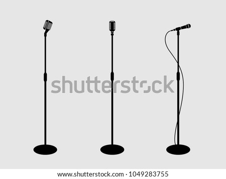 Three microphones on counter. light background. silhouette microphone. Music icon, mic. Flat design, vector.