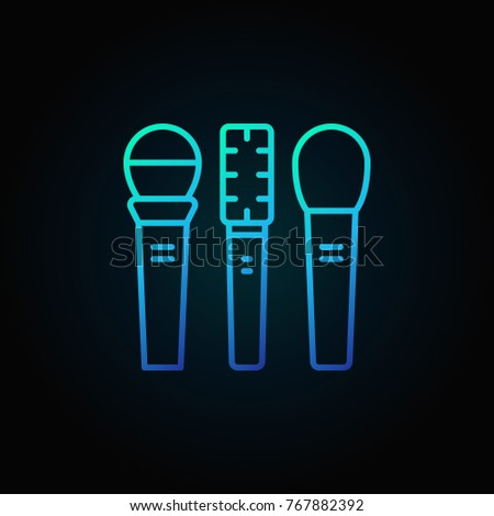 Three microphones vector blue icon or sign in thin line style on dark background