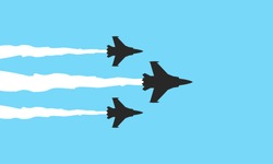 Three military fighters symbols on blue background. Jets show vector illustration