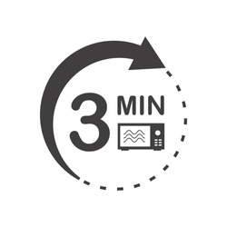 Three minutes icon. Cook in microwave sign. Heat 3 minutes.