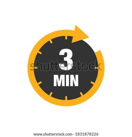 Three minutes icon isolated on white background. Cooking time concept. 3 minutes waiting time icon. Vector stock Stockfoto ©