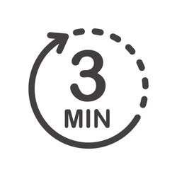Three minutes icon. Symbol for product labels. Different uses such as cooking time, cosmetic or chemical application time, waiting time ...