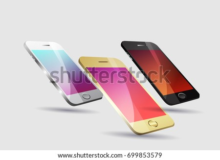 Three mobile phones black, silver and gold color