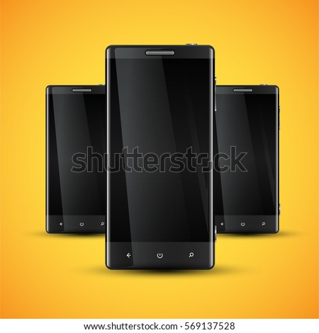 Three mobile phones in front of a yellow background, realistic vector illustration