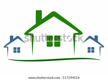 Three modern houses stock vector illustration 117144016 for Modern house clipart