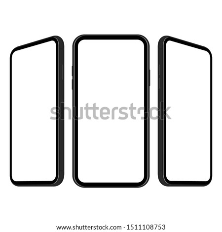 Three modern smartphones in flat design isolated on white background. Vector illustration
