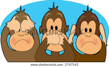 Three monkeys - see,speak,hear no evil