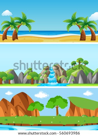 three nature scenes with