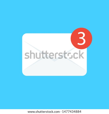 Three new mails vector illustration, email notice