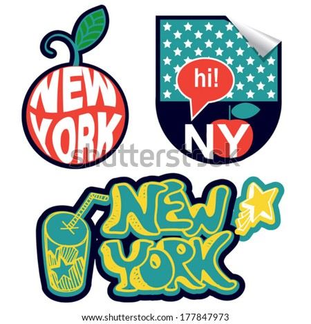 three new york stickers