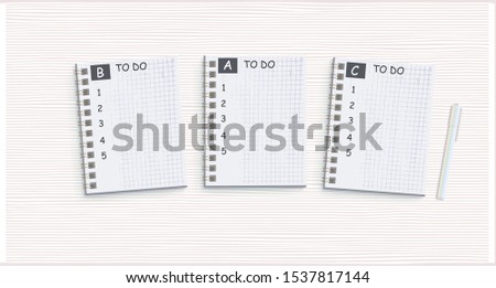 Three notepads with to-do lists. Layout of priority cases. Personal goals for new year. Vector illustration.