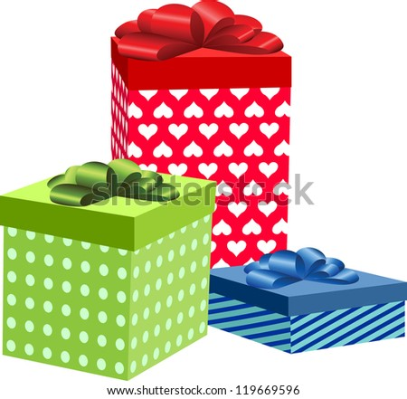 Three of colorful present boxes for Birthday, Christmas or other celebration, vector illustration