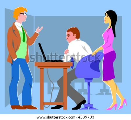 Three office workers. Vector Illustration.