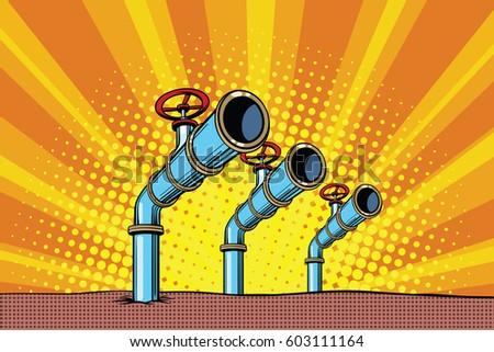 three oil pipes pop art retro