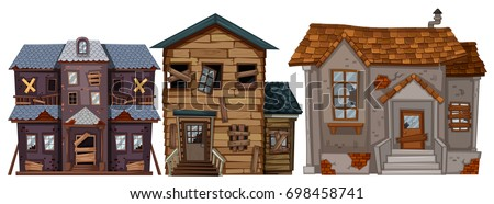 Three old houses with broken windows illustration