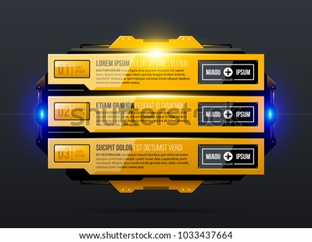 Three options with glowing light in yellow industrial techno style on dark gray background