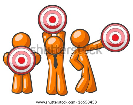 Three orange men holding targets up. A versatile concept for planning, objectives, or target audience.