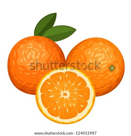 three oranges isolated on white