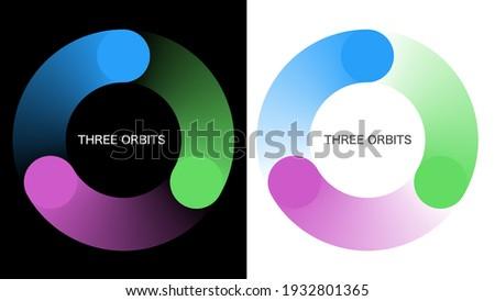Three orbits. Symbol graphics. Rotating image.