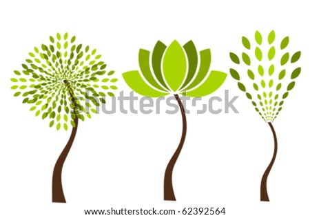 Three original vector trees. Logo concepts
