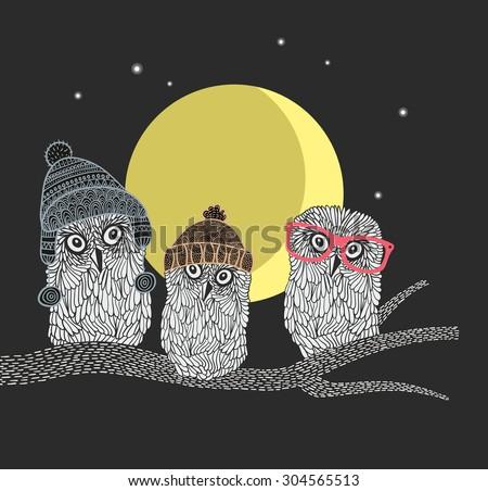 three owl friends on the tree