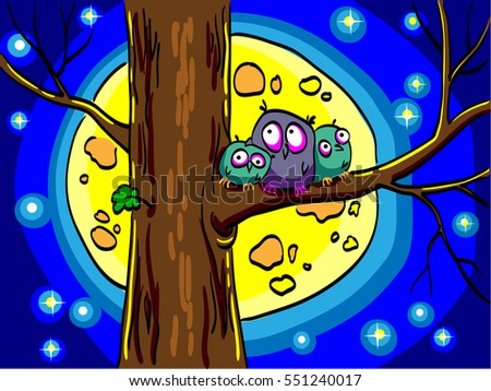 three owls sitting in a tree