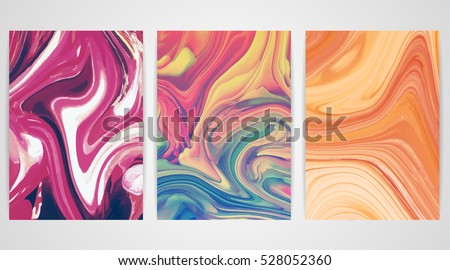 three paintings with marbling
