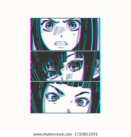 Three pairs of Asian Eyes look. Glitch effect. Manga style. Japanese cartoon Comic concept. Anime characters. Hand drawn trendy Vector illustration. Pre-made print. Isolated on white background