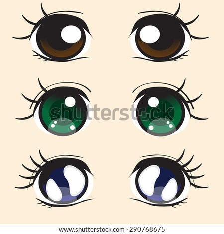 three pairs of large eyes in