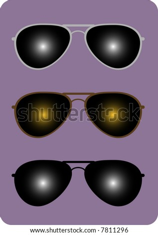 Three pairs of trendy aviator sunglasses.