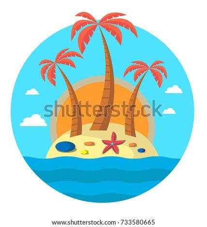 three palm trees on island and