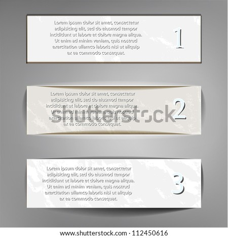 Three paper banners with shadow
