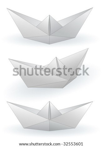 Three paper ships isolated on white - vector