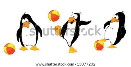 Three penguins playing wtih ball