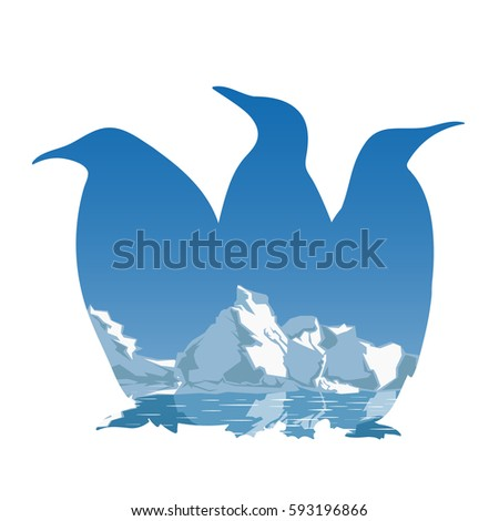 three penguins silhouette