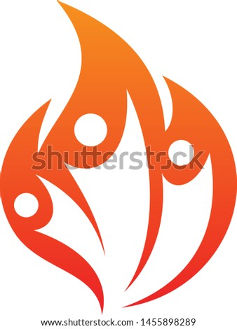 Three people fire life vector icon on the white background. Fire icon for your best business symbol. Vector illustration EPS.8 EPS.10