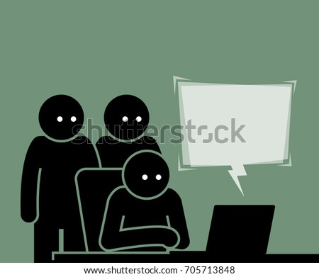 three people viewing a computer