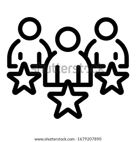 three persons and stars icon
