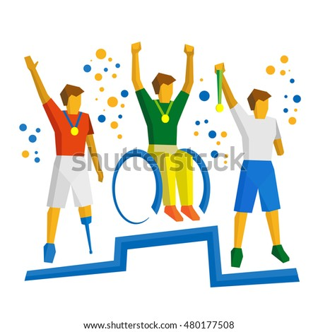 Three physically disabled sportsman with medal on podium. Sport games for people with disabilities - vector clip art.