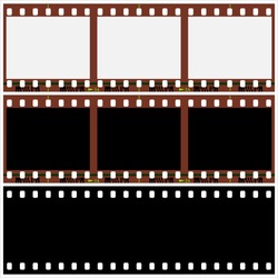 three pieces of photographic film on a white background vector illustration