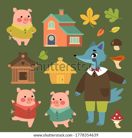 Three piglets set. Сollection of three piglets with their houses and a wolf. Illustration for books, cards and theme parties Photo stock ©