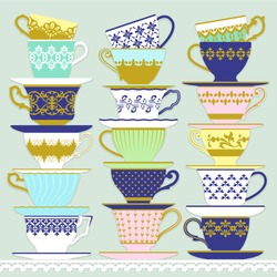 Three piles of cups and saucers with different decorations and shapes