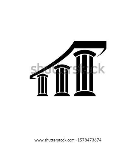 Three pillar flat logo template, white and black logo element, law justice logo icon, building construction architecture logo  ストックフォト ©