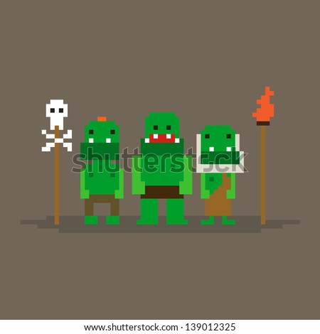 Three pixel art orcs posing vector illustration